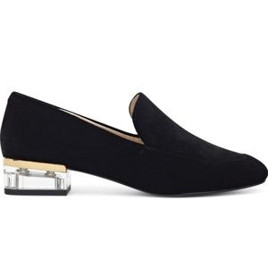 Nine West × Clear Lucite Heel Loafers in Black